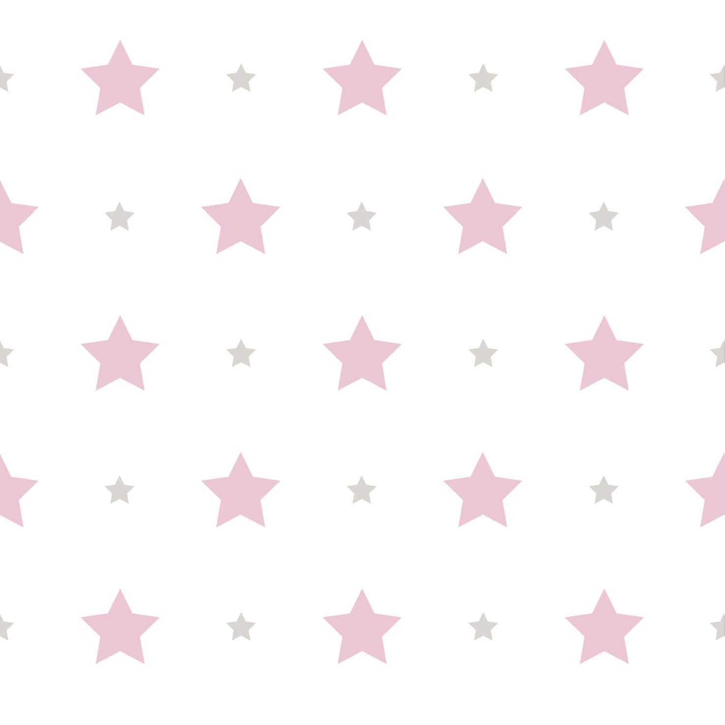 Wallpaper Kids Star Design Rasch Textil White Pink 330136 001