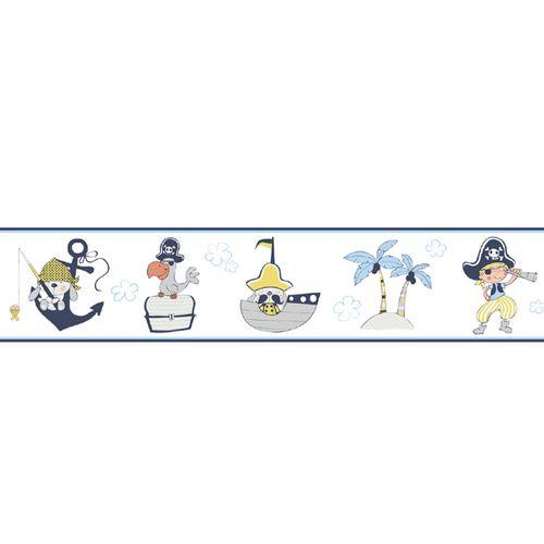Tapetenborte Bordüre Piraten Rasch Textil weiß blau 330471 online kaufen