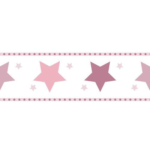 Tapetenborte Bordüre Sterne weiß rosa 330501