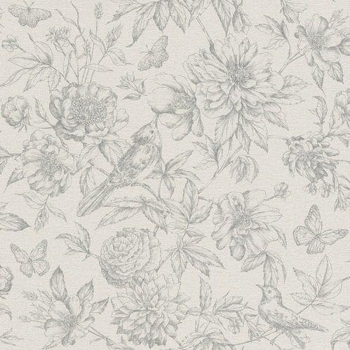 Wallpaper floral bird grey Rasch Florentine 449440 online kaufen