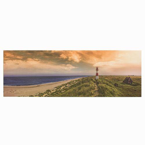 Bild Keilrahmen Wandbild Strand Meer Leuchtturm 50x150cm