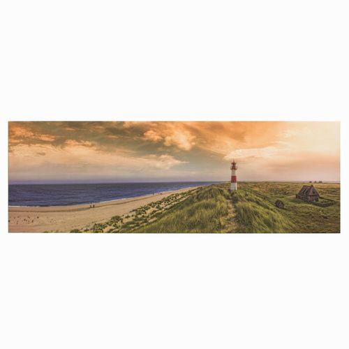 Bild Keilrahmen Wandbild Strand Meer Leuchtturm 50x150cm online kaufen