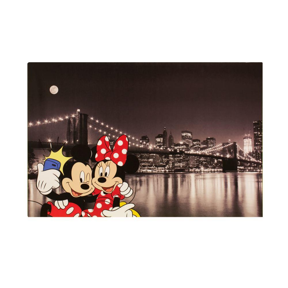 Details zu Wandbild Leinwand Keilrahmen Micky Minnie Maus New York 60x90cm