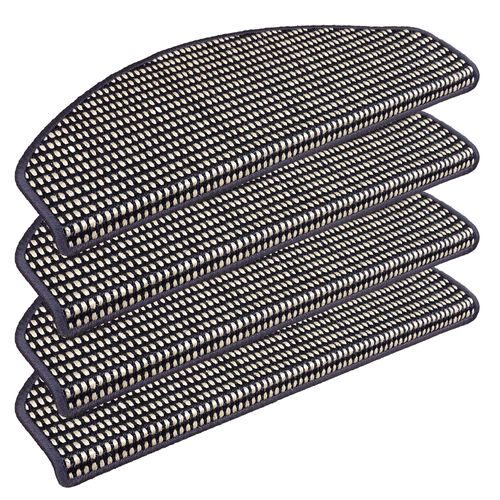 Set of 15 Sisal Stair Tread Mats Campus Blue White 28x65cm buy online