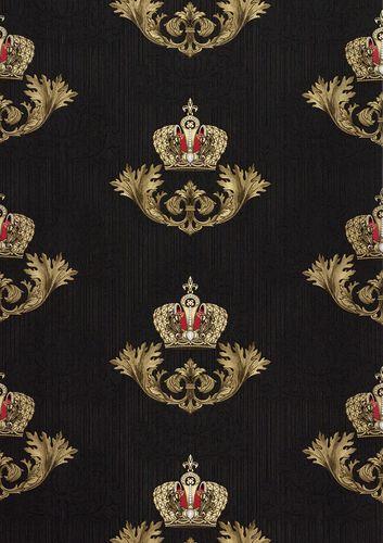 gl ckler tapete vlies krone barock schwarz glanz 54854. Black Bedroom Furniture Sets. Home Design Ideas