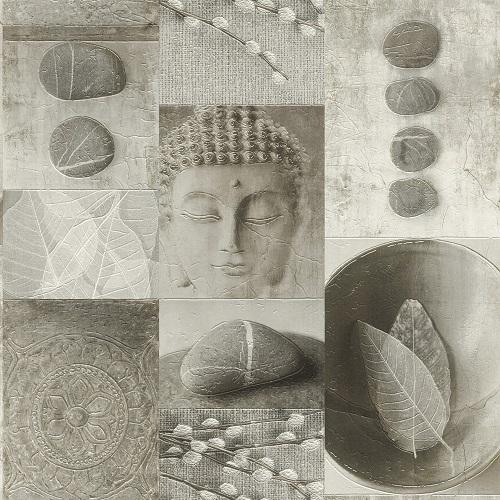 Wallpaper Buddha grey gloss Rasch Deco Relief 306347