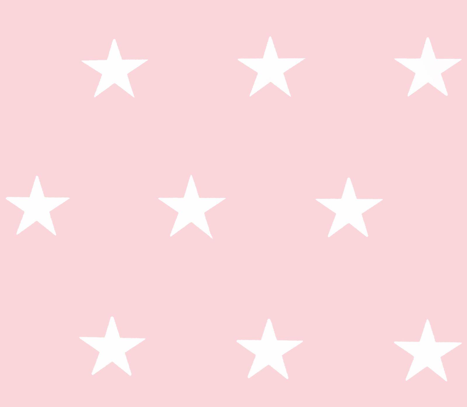 Tapete Vlies Homefactori Sterne Rosa Weis Glanz