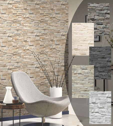 Wallpaper stone stones wall brick natural stones wallcover P+S  online kaufen
