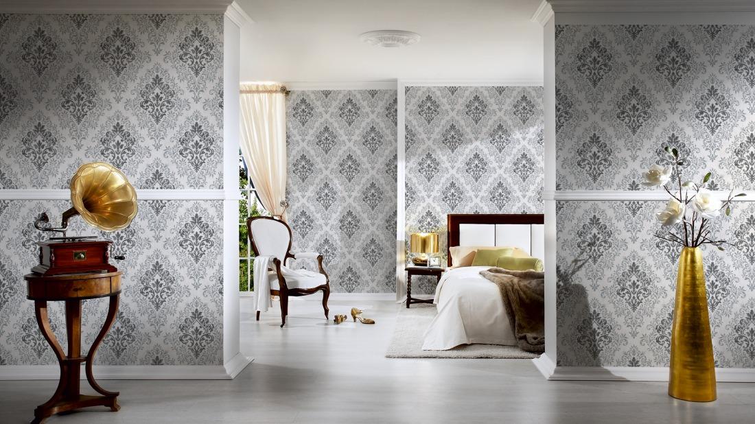 jette joop tapete vlies vintage barock anthrazit metallic. Black Bedroom Furniture Sets. Home Design Ideas