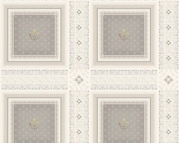 Tapete Vlies Kassetten Lilie grau Glanz Hermitage 33541-5 online kaufen