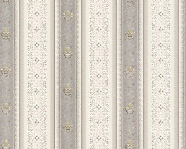 Tapete Vlies Streifen Lilie grau Glanz Hermitage 33542-5 online kaufen