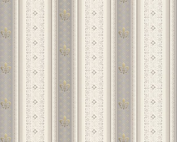 Wallpaper striped lilies grey gloss Hermitage 33542-5 online kaufen