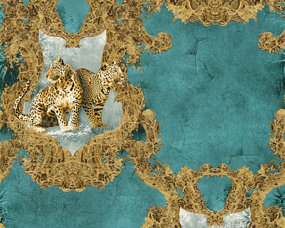 tapete vlies leoparden aquamarin glanz hermitage 33543 5. Black Bedroom Furniture Sets. Home Design Ideas