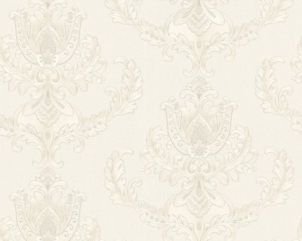 Wallpaper baroque floral white silver gloss Hermitage 33546-1