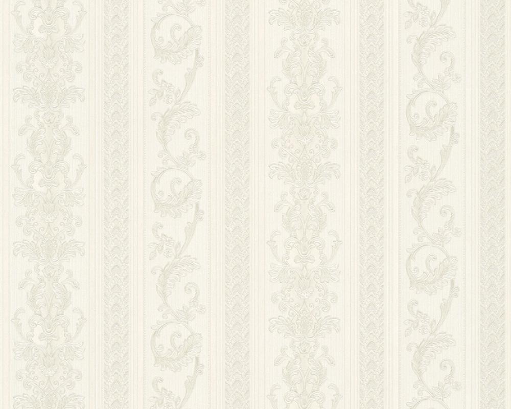 tapete vlies ranken streifen wei silber glanz hermitage 33547 1. Black Bedroom Furniture Sets. Home Design Ideas