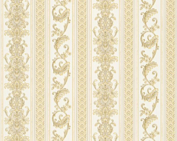 Wallpaper striped tendrils white gloss Hermitage 33547-3