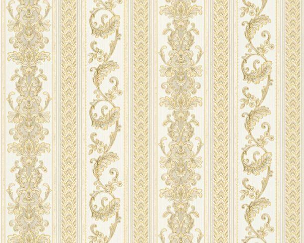 Tapete Vlies Ranken Streifen gold weiß Glanz Hermitage 33547-3 online kaufen