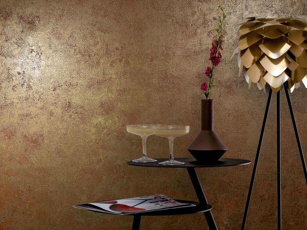 Non-Woven Wallpaper Patina Plaster brown Metallic 77706