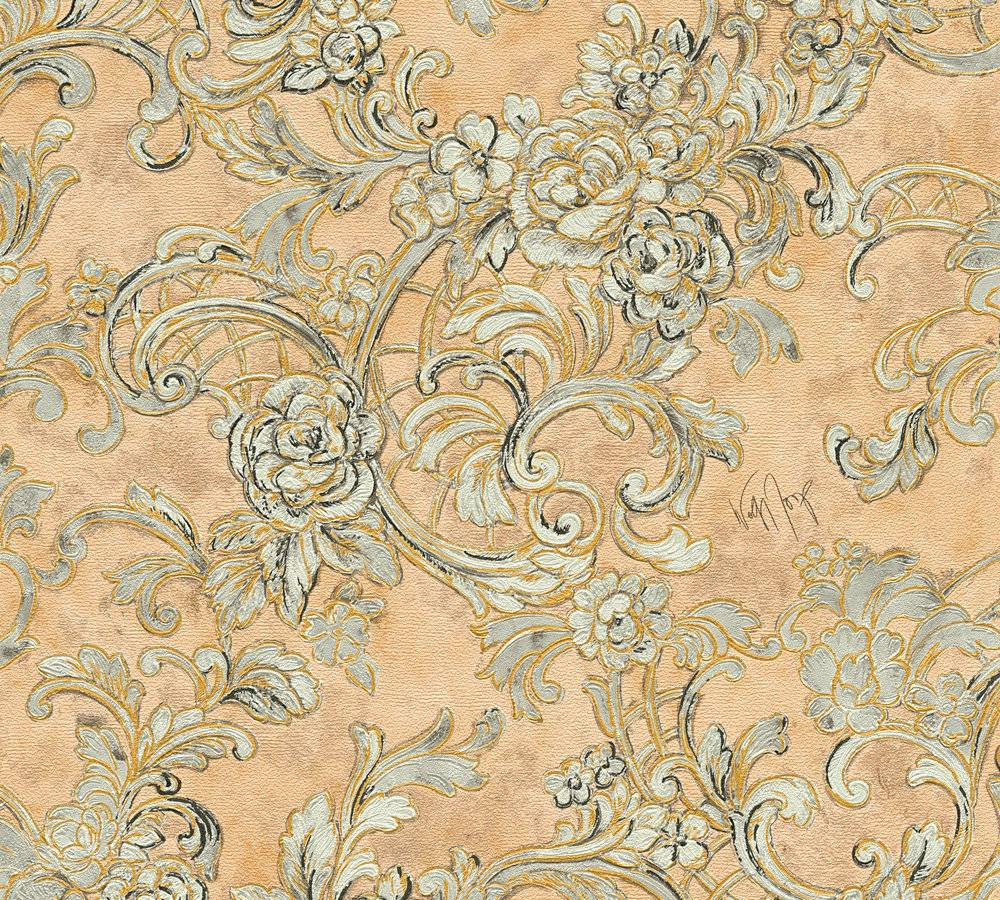 Wolfgang joop tapete floral ornamente braunbeige glanz 34077 5 for Tapete floral