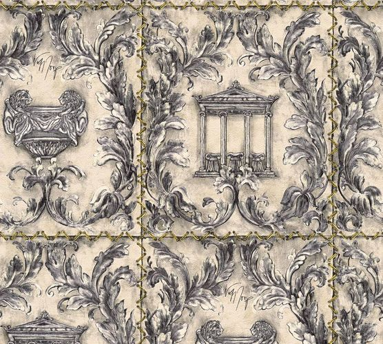 Wolfgang Joop Wallpaper temple greek silver Glitter 34086-2