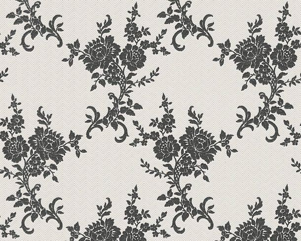 Wallpaper tendril flower silver white gloss AS 1102-20 online kaufen