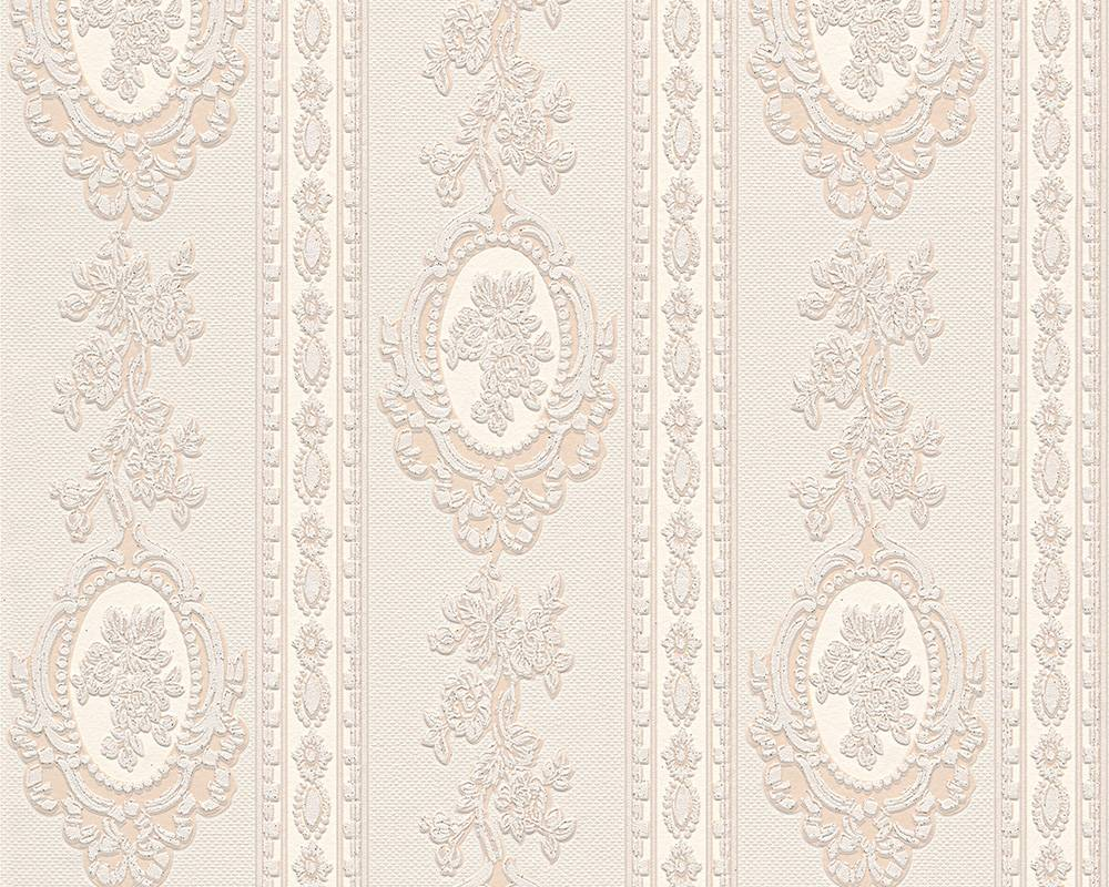 Tapete vinyl barock gestreift cremebeige glitzer as 1861 33 for Tapete barock