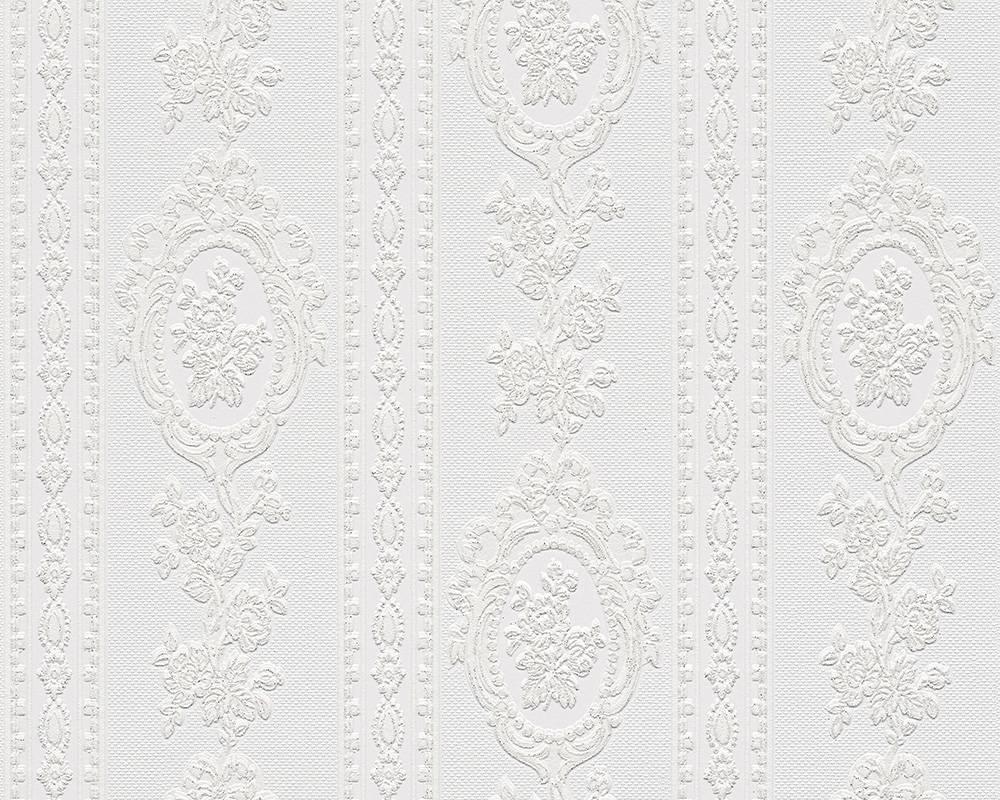 tapete vinyl barock gestreift wei glitzer as 1861 40. Black Bedroom Furniture Sets. Home Design Ideas