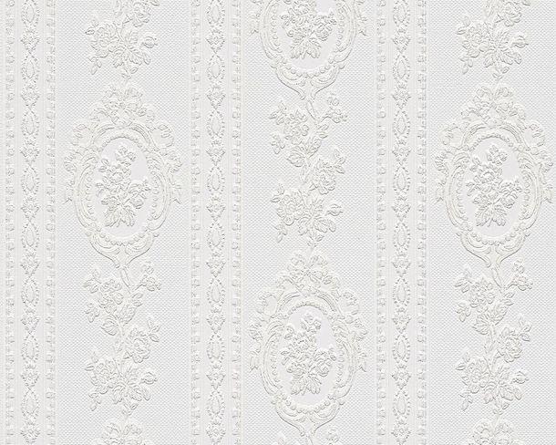 Tapete Vinyl Barock Gestreift weiß Glitzer AS 1861-40