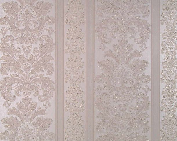 Wallpaper baroque striped silver white gloss AS 3456-15 online kaufen