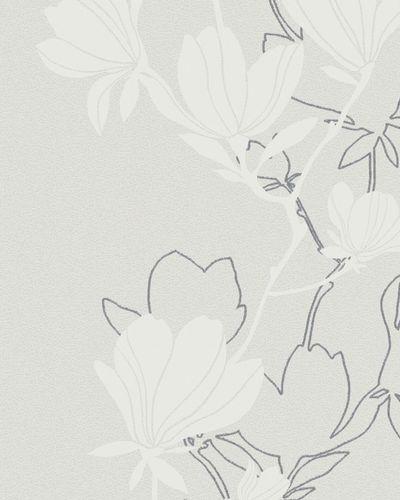 Wallpaper blossoms white grey white glitter Marburg 57802