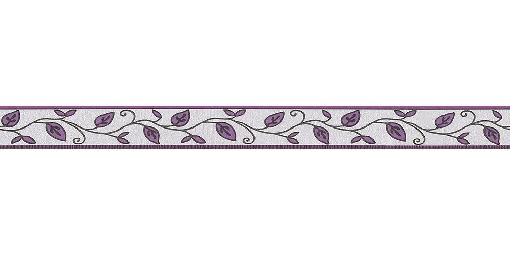 Tapetenborte Bordüre Blätter weißgrau lila AS 2622-26