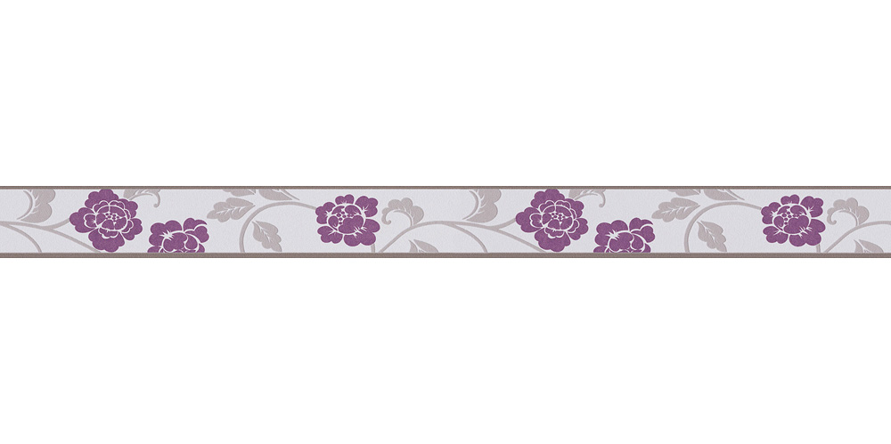 Wallpaper Border Self Adhesive Bloom Leaves Grey 2820 26