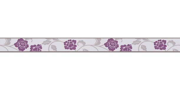 Tapetenborte Bordüre Blüten Blätter hellgrau grau AS 2820-26 online kaufen