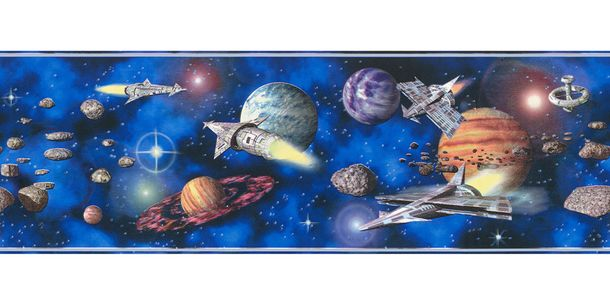 Wallpaper Border self-adhesive Kids Space colourful 8962-16 online kaufen