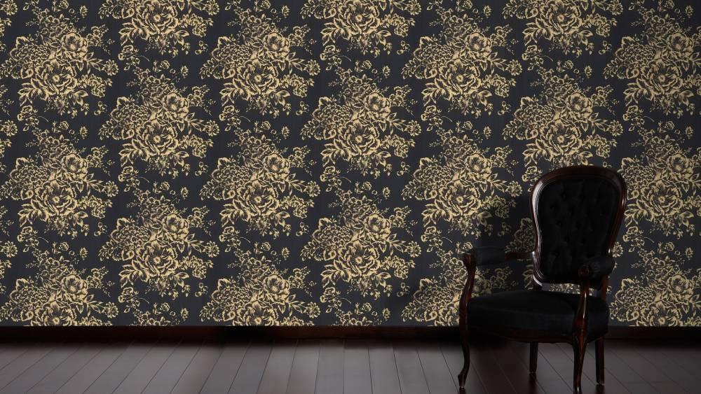 Tapete textil floral schwarz gold architects paper 30657 7 - Tapete schwarz gold ...