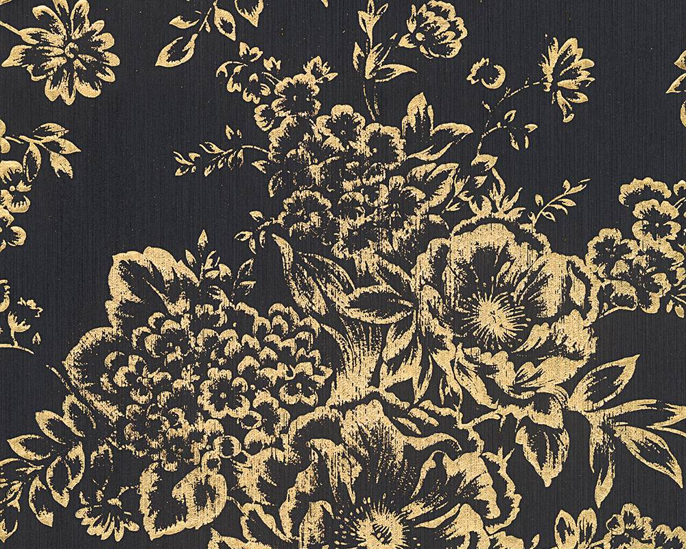 Wallpaper Textile Flower Black Gold Architects Paper 30657 7 001