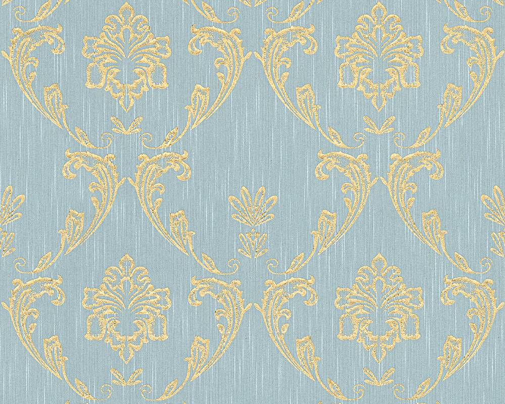 Tapete textil ornament hellblau gold architects paper 30658 6 for Tapete hellblau muster