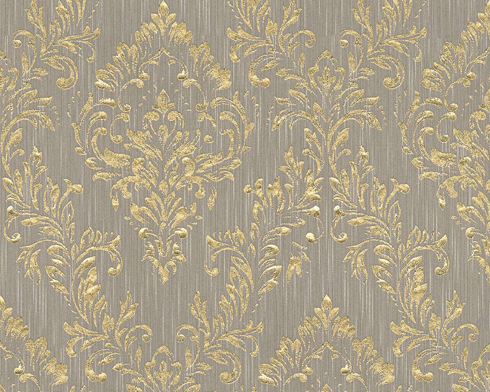 Tapete textil barock taupe gold architects paper 30659 3 for Tapete barock