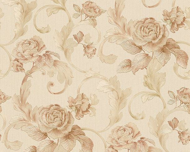 Wallpaper Architects Paper roses cream beige Gloss 95983-3 online kaufen
