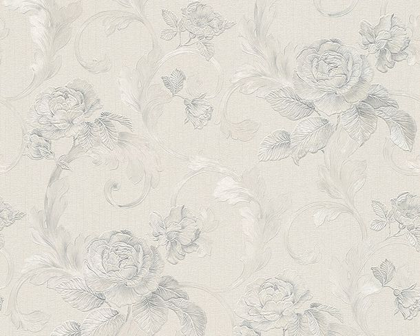 Wallpaper Architects Paper roses white grey Gloss 95983-4 online kaufen