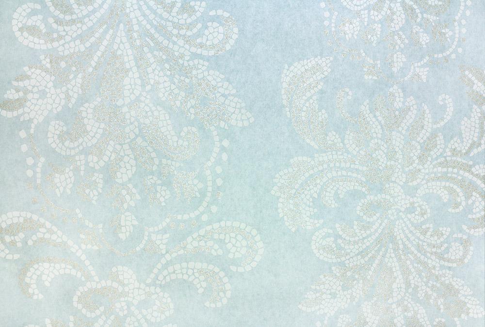 Tapete Vlies Barock Mosaik hellblau Glitzer Fugger - Hellblaue Tapete