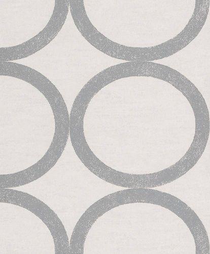 Tapete Vlies Kreise weißgrau Metallic Rasch Textil 228136