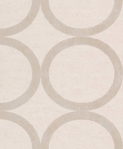Tapete Vlies Kreise creme Metallic Rasch Textil 228167