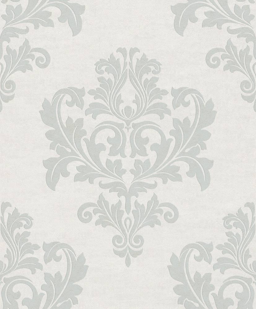 Tapete vlies ornament wei grau metallic rasch textil 228235 - Rasch ornament tapete ...