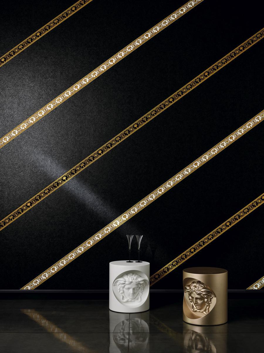 Versace Home Wallpaper Border Medusa Black Gold 34305 1
