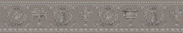 Versace Home Wallpaper Border Medusa grey silver 34305-3