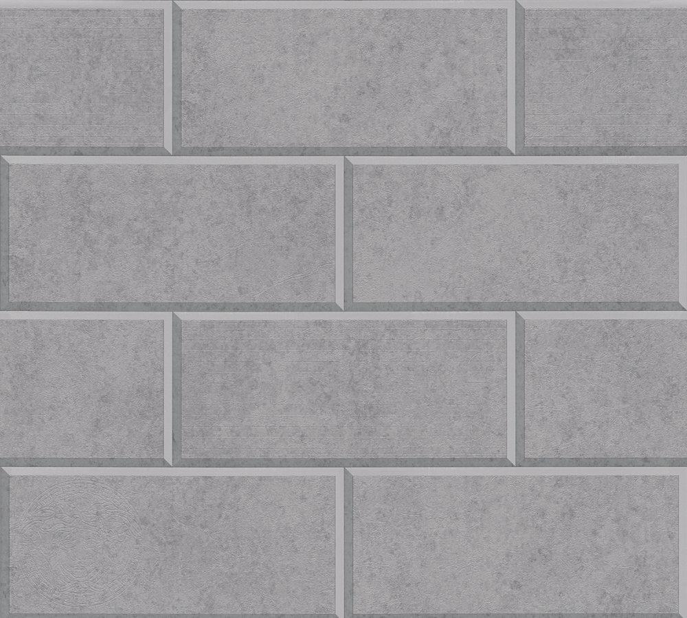 Versace Home Tapete 3D Fliesen Grau Hellgrau 34322-4
