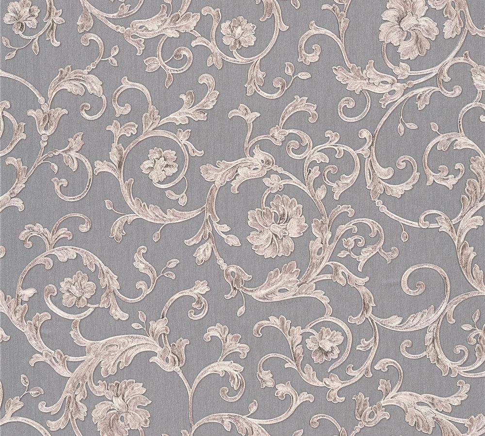 Versace home tapete floral grau silbergrau glitzer 34326 5 for Tapete floral