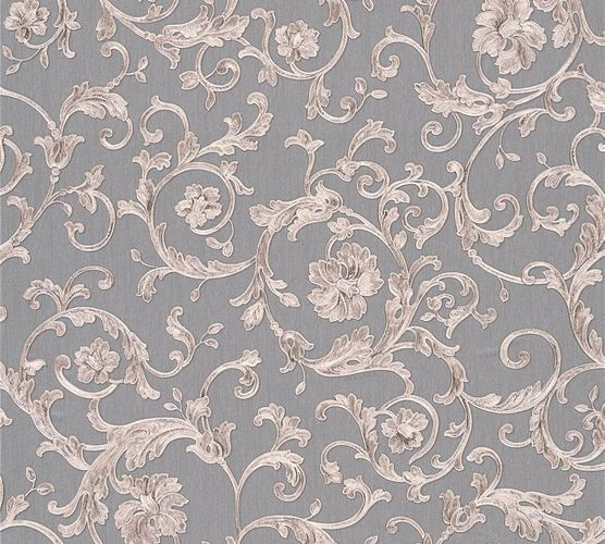 Versace Home Wallpaper floral grey silver grey glitter 34326-5
