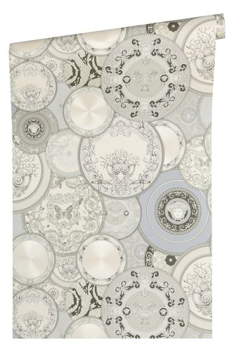 Versace Home Wallpaper dish silver white gloss 34901-3
